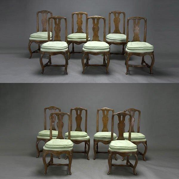 312: Twelve Dutch Walnut Side Chairs