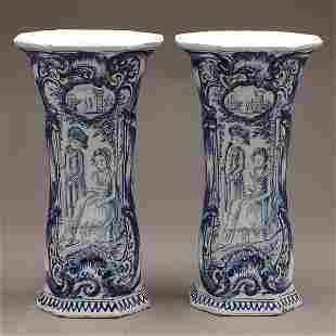 Pair of Delft Blue & White Vases, 19th C.
