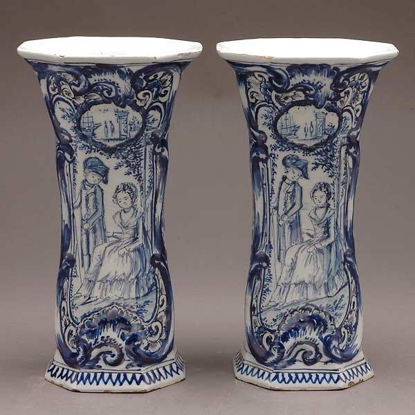 313: Pair of Delft Blue & White Vases, 19th C.