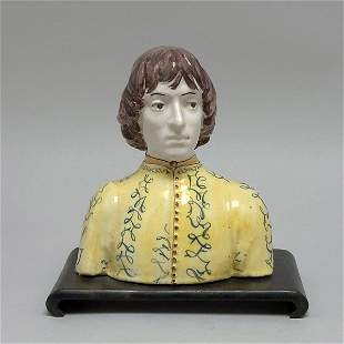 Italian Majolica Bust of Young Male