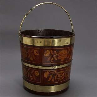 Dutch Brass Mounted Marquetry Inlaid Walnut Bucket