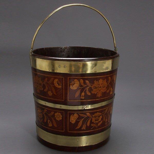 320: Dutch Brass Mounted Marquetry Inlaid Walnut Bucket