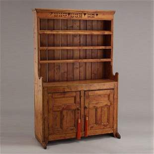 Stained Pine Stepback Cupboard