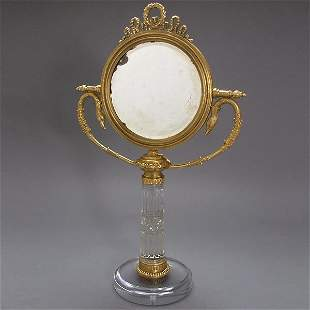 Russian Gilt Bronze and Cut Glass Dressing Mirror