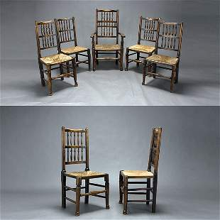 Seven English Baroque Style Chairs