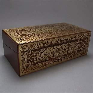 Victorian Brass Inlaid Rosewood Lap Desk