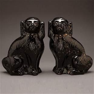 Pair of Staffordshire Black Glazed Spaniels