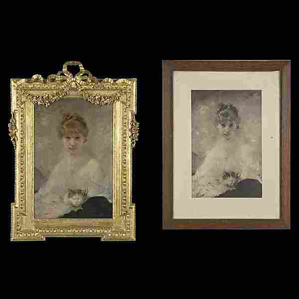 Charles Chaplin, Portrait of a Lady French Art Oil