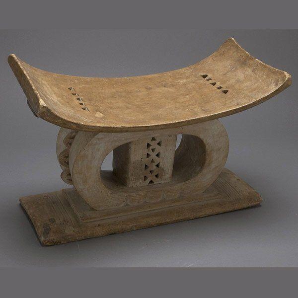 AFRICAN ART ASHANTI STOOL GHANA OLD USED