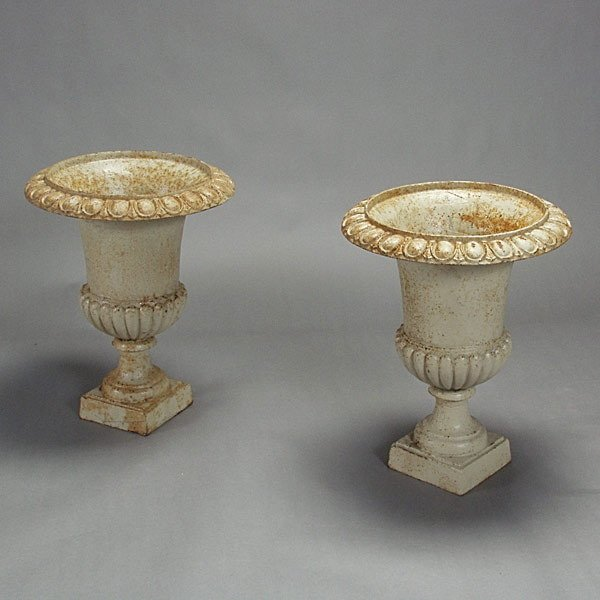 3: Pair of Painted Garden Urns