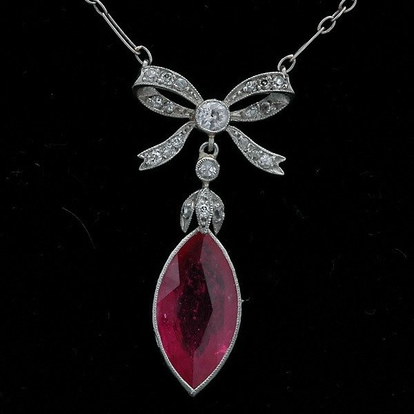 136: RUBY, DIAMOND, PLATINUM NECKLACE