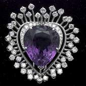 AMETHYST, DIAMOND, PLATINUM, 18K WHITE GOLD BROOCH