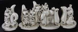 Five sterling squirrel figures