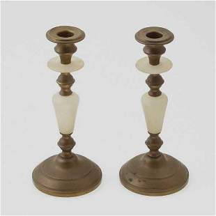 Pair of Brass and Alabaster Candlesticks