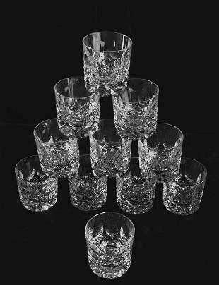 Set of eleven cut crystal tumblers