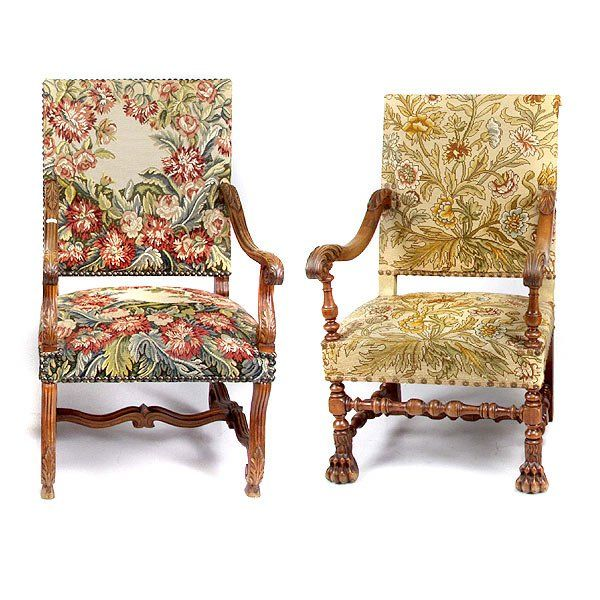 Two Carved Frame Armchairs