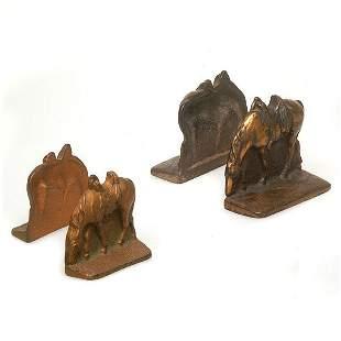 Cast Metal Bronze Bookends