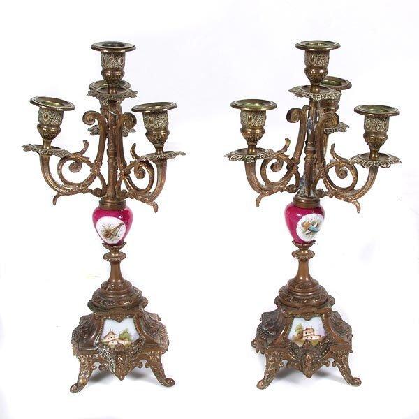 1015: Victorian Porcelain Mounted Candelabra