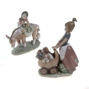 Two Llardo Girls with Puppies or Donkey