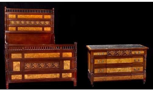 1282: Herter Bros. Aesthetic Bed & Dresser