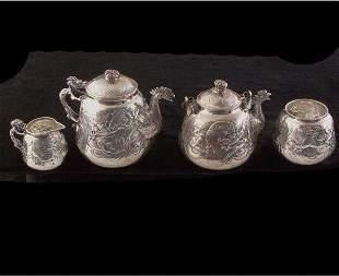 Chinese Silver Four Piece Tea Set