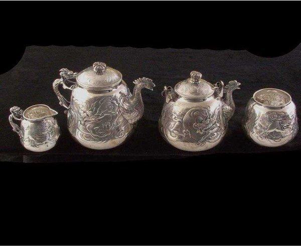 633: Chinese Silver Four Piece Tea Set