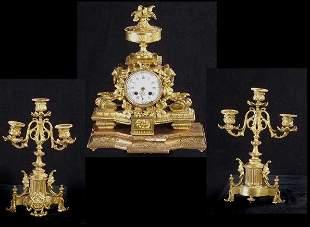 French Louis XVI Style 3 Pc.Clock Garnit
