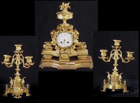 634: French Louis XVI Style 3 Pc.Clock Garnit