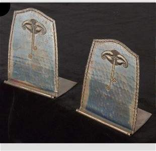 Roycroft Hammered Copper Bookends