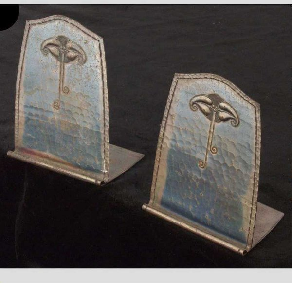 644: Roycroft Hammered Copper Bookends