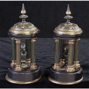 Pair of Black Onyx Temple Ornaments