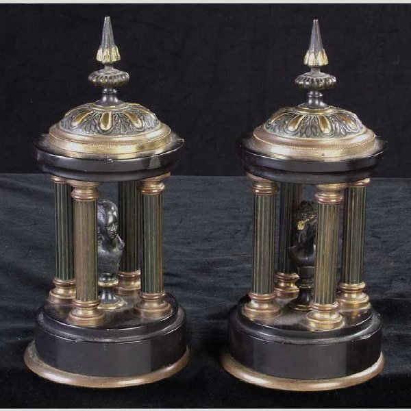 647: Pair of Black Onyx Temple Ornaments