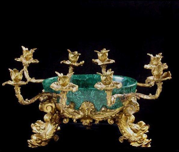 648: Louis XV Style Gilt Bronze & Malachite E