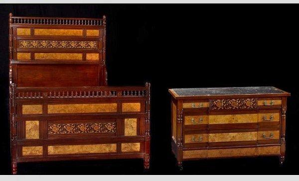 776: Herter Bros. Aesthetic Bed & Dresser