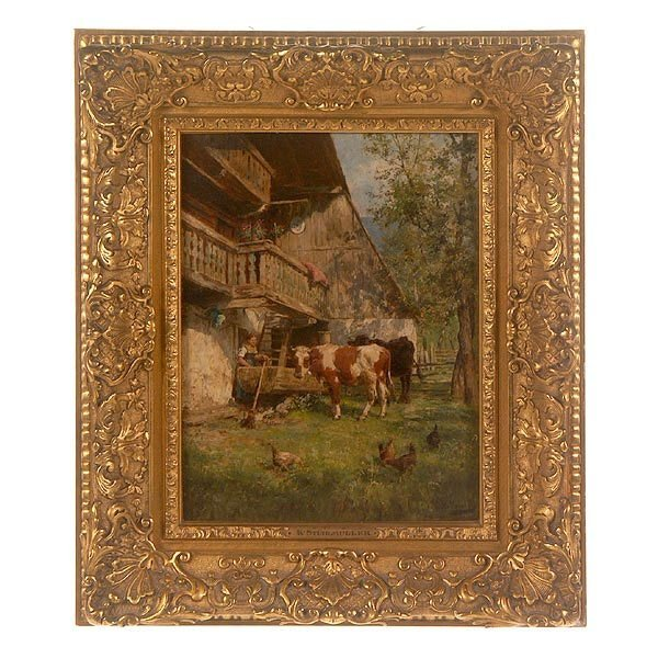 1010: Karl Stuhlmuller, Country Scene, Oil