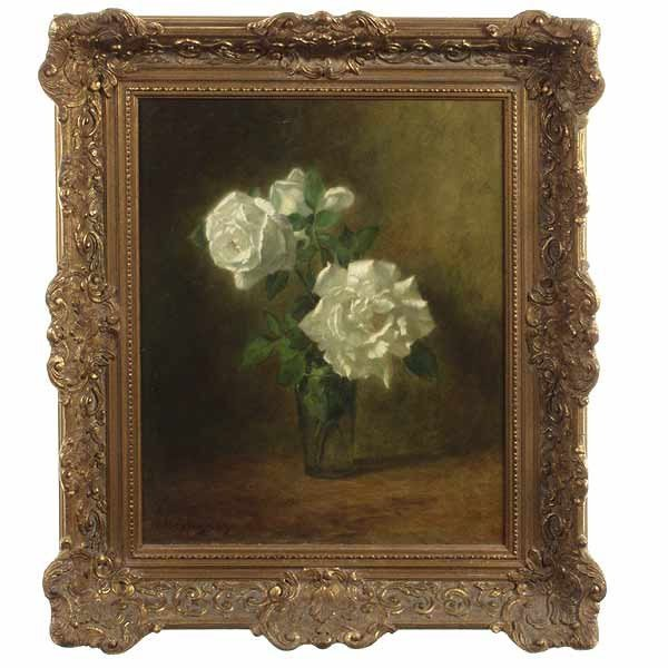 1017: H. Heyligers, Still Life of White Roses