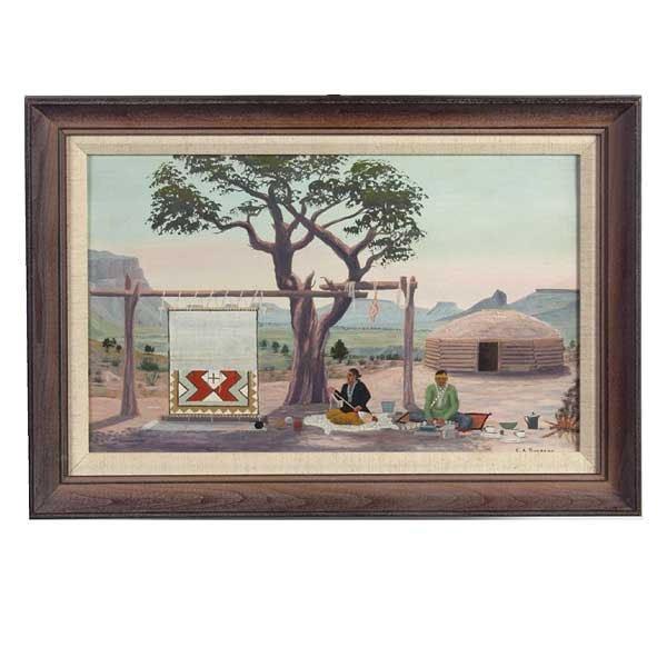 1089: E A Burbank, Indian Crafts, Oil Paintin