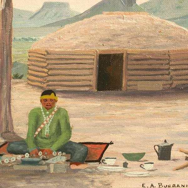 1089: E A Burbank, Indian Crafts, Oil Paintin - 2