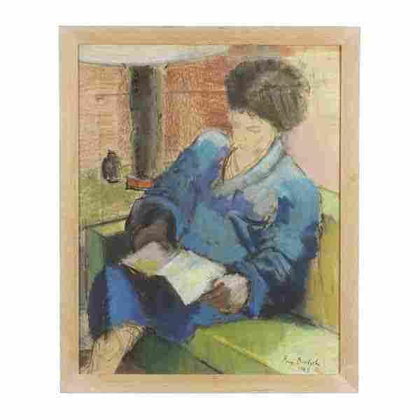 Boris Deutsch, Pastel, Woman Reading