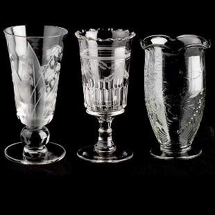Two American Glass Celeries & A Vase