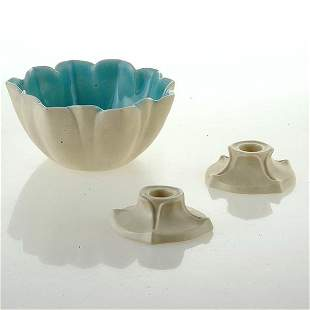 1935 Rookwood Bowl and Pr Candlestands