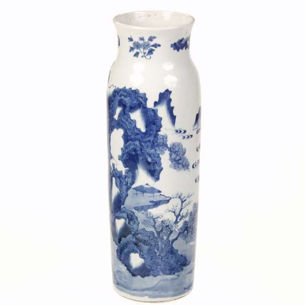 Tall Chinese Blue and White Vase