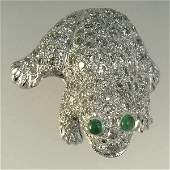 1565 White Gold Diamond  Emerald Frog Brooc