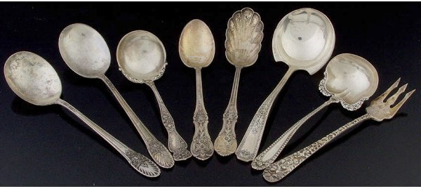 24: Eight pieces of sterling flatware