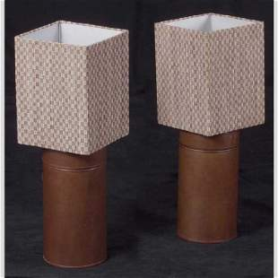 Pair of Deco Style Leather Cylinder Lamps