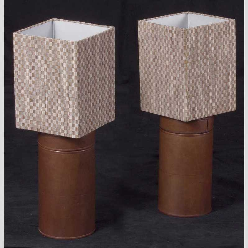 2: Pair of Deco Style Leather Cylinder Lamps