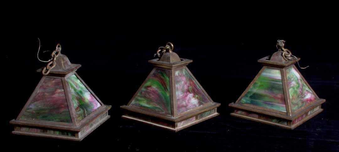 7: Three Arts & Crafts hanging light fixtures
