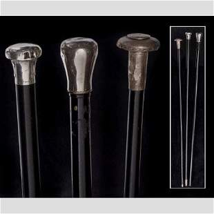 One Sterling silved nobed walking cane