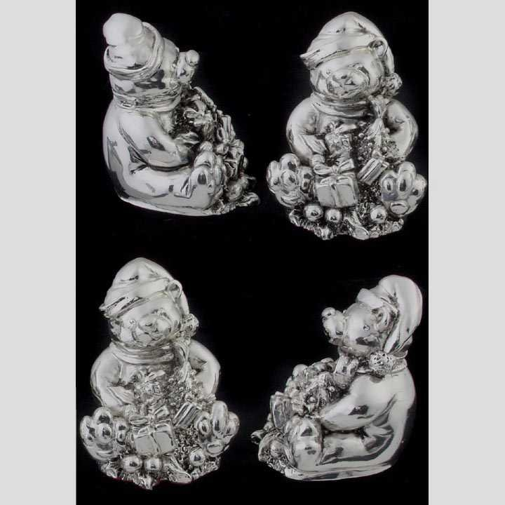 14: Four sterling bear figures