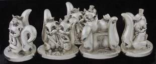 Five sterling squirrell figures